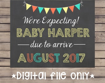 We're Expecting Pregnancy Sign / First Pregnancy Sign / We're Expecting Chalkboard / We're Expecting Pregnancy Chalkboard /New Baby/ Digital