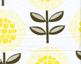 Fabric white yellow flowers Cotton Fabric House textilies Fabric Scandinavian Design Scandinavian Textile