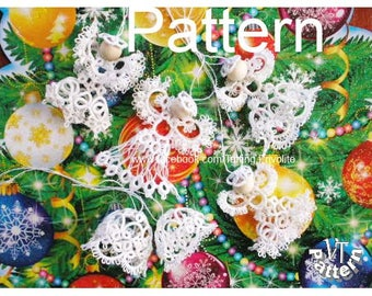 Christmas decorations, Tatting pattern, Tatted angel, Bell, diagram and Tutorial photo in pdf