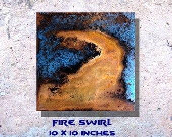 """Art Painting Copper Art Abstract Patina Painting """"Fire Swirl"""" 10 x 10"""" Metal Wall Art"""