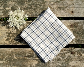 Black, White and Beige Plaid Linen Pocket Square