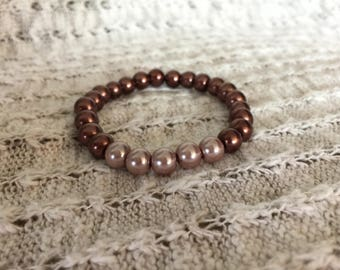 Dusty mauve & purple/bronze pearl bracelet