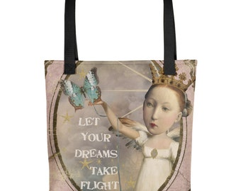 Let Your Dreams Take Flight Inspirational Collage Art Reusable Tote Bag