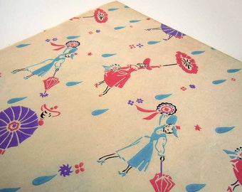 Vintage 1950's Mid Century Bridal Shower Wrapping Paper 7 Unused Uncut Sheets of Gift Wrap