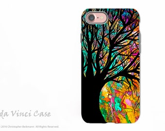 Colorful Tree Silhouette - Artistic iPhone 7 / 8 Tough Case - Dual Layer Protection - Forbidden Forest