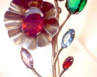 Vintage Gold Over Sterling Silver Vermeil Rhinestone Flower Pin