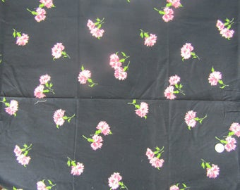 2 yards vintage cotton fabric black with pink carnations
