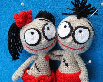 Amigurumi Mister and Misses Voodoo Dolls  PDF CROCHET PATTERN Doll Toy Boy Girl Puppet Halloween
