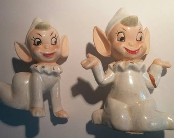 Elves!! Pixies!! Two Lustreware Pixies / Elves Cute and Creepy