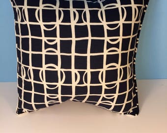 """18x18"""" Decorative Corded Pillow Cover - Navy Blue and White Geometric"""