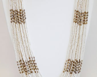 Beige and Gold Statement Necklace / Multi Strand Beaded Necklace.
