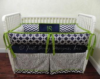Custom Crib Bedding Set Kade - Boy Baby Bedding, Navy Baby Bedding, Lime Baby Bedding