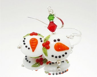 Snowman Earrings, Christmas Earrings, Lampwork Earrings, Glass Bead Earrings, Whimsical Earrings, Snowman Jewelry, Christmas Jewelry