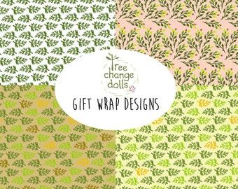 Tree Change Dolls® downloadable wrapping paper, gift wrap, leaf design, 4 patterns