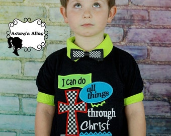 I can do all things through Christ who gives me Strength - Boys Applique Black Shirt or Bodysuit