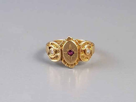 Antique Edwardian 18K gold diamond and ruby cigar band ring / size 5 / hand crafted