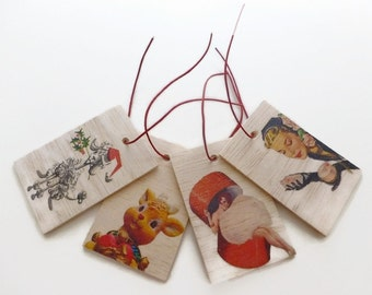 Christmas wooden Gift Tags - Set of 4 - Vintage Christmas Tags - Wood Christmas Tags - Xmas Tags - Christmas Decorations