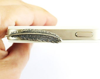Small Feather Cell & iPhone Dust Plug Cellphone/ iPhone Accessories Sterling Silver Ox