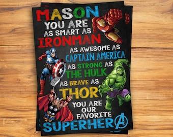 Personalized Chalkboard/ Father's Day Card/Daddy is My Superhero Sign/Superhero Chalkboard Poster/Superhero Avenger Birthday/Chalkboard Sign