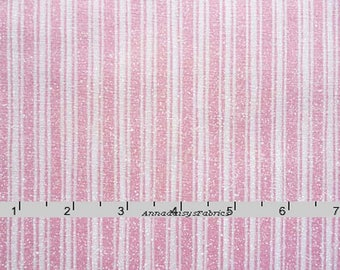 Pink Ticking Stripe Fabric, Henry Glass Heart Strings 6129, Baby Girl Fabric, Pink Quilt Fabric, Cream & Pink Stripe Quilt Fabric, Cotton
