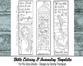Bible Journaling Strength & Hope #5 - bible journaling template, doodles, PDF, printable sketches, bookmarks, coloring, bible verses