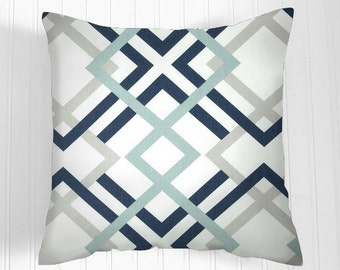 Pillows, Navy Pillow, Decorative Pillows,Pillow Covers. Colors  navy, aqua, grey and white.Decorative Pillows, Pillows, Throw Pillow, Pillow