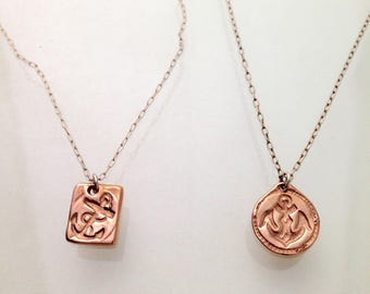 rose gold anchor necklace -  10k gold and silver  - one-of-a-kind - camille hempel