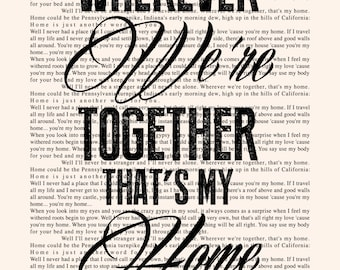 You're My Home Book Page - Billy Joel Lyrics Typography Print