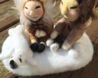 Eskimo family & Seal Soft Sculpture, wool needle felted animal, creature ornament, home decor , SamBee