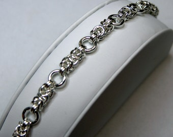 Broken Byzantine Bracelet - Argentium Silver, Sterling Silver Lobster Claw Clasp, Soldered