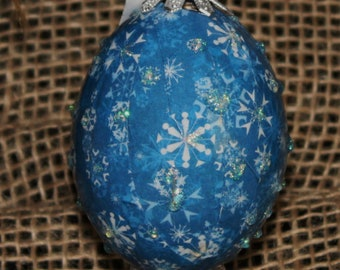 Hand decorated Blown Egg Decoupage Ornament (Snowflakes)