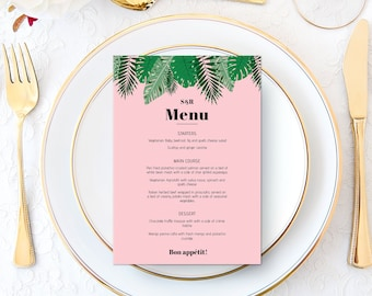 Wedding Menu Printable | Custom | Bespoke | Botanical | Tropical Leaves | Leaf | Pink | Engagement Party | Wedding Stationery | Event Dinner