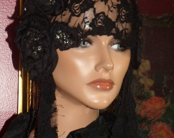Flapper Hat Cloche  20 Theme Personalized  Black Lace Headdress Millinery ArtWork