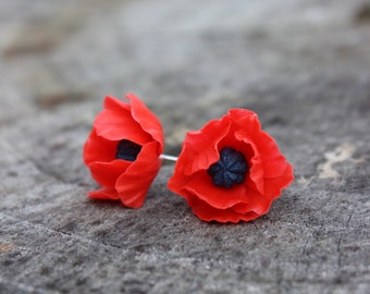 BUY 2 PAIRS - GET 3 Red Earrings - Poppy Earrings - Stud Earrings - Minimalist Earrings - Flower Earrings - Cold Porcelain Stud