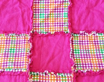Pretty Pink with Orange, Green, and Pink Plaid Rag Quilt/Blanket