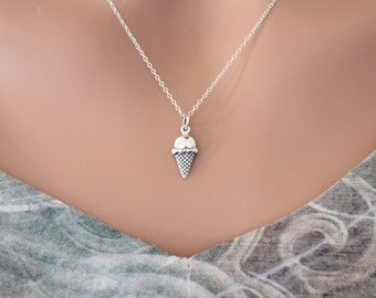 Sterling Silver Ice Cream Charm Necklace, Silver Ice Cream Necklace, Ice Cream Charm Necklace, Ice Cream Cone Necklace, Food Necklace