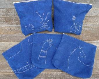 hand-embroidered indigo zipper pouch:  kata golda