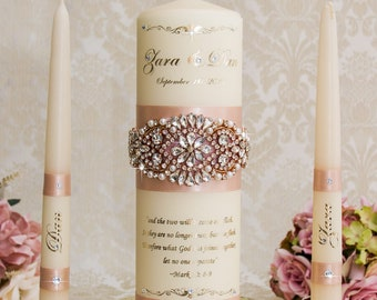 Rose Gold Unity Candle Set Rose Gold Wedding Unity Candles Blush Wedding Candle Personalized Unity Candle Rhinestone Unity Candle