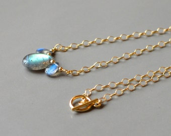 Labradorite and Gold Necklace with Toggle Clasp