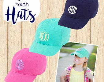 Monogrammed Youth Kid's Baseball Hat Cap - 3 colors to choose from