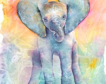 Elephant Art: Elephant Print baby Elephant Art Elephant watercolor art painting elephant safari Nursery room decor  elephant lover gift art