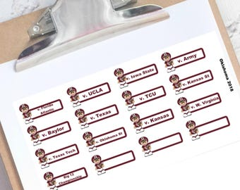 Oklahoma football schedule planner stickers