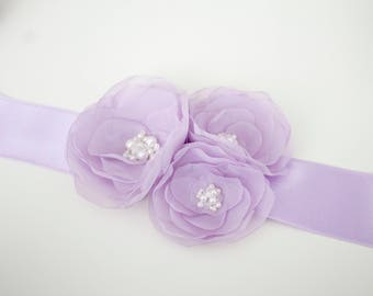 Lilac wedding sash belt Flower Girl Sash Floral sash Bridesmaid satin belt Flower girl dress Wedding Belt