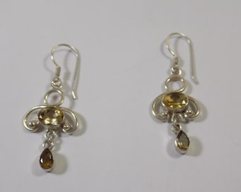 Beautiful sterling silver citrine earrings