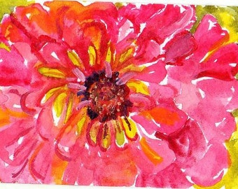 ACEO Original Zinnia watercolor painting, Flower Art Card, pink zinnia watercolors paintings, SharonFosterArt