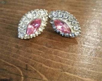 Pink Rhinestone Screwback Earrings