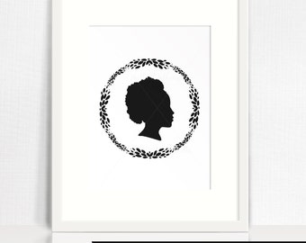 Custom Silhouette (from your photo) - Single Profile Portrait with wreath - Digital File - print yourself -