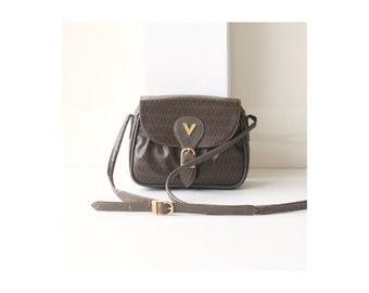 Auth Valentino Brown mini cross-body handbag vintage