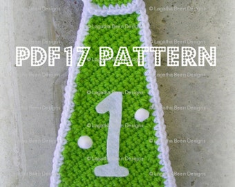 Crochet necktie pattern - birthday cake smash tie pattern - thing 1 tie pattern - boys tie pattern - PDF17 digital down