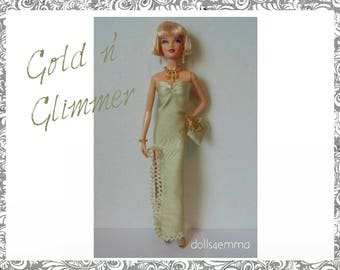 Model Muse Barbie Doll Clothes - Gold Gown, Hand-Beaded Purse and Jewelry Set - Custom Fashion - by dolls4emma